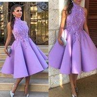 Juniors Lavender Appliques 높은 목 Homecoming 칵테일 드레스 여성 2021 민소매 새틴 짧은 생일 파티 댄스 파티 드레스