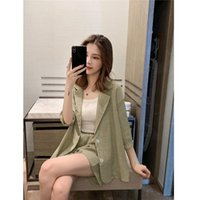 Loose Cotton Linen Suit Of Korean Edition BerryGo Casual Short Sleeve Women Shorts Sets Summer High Street Spring Blazer Women's Two Piece P