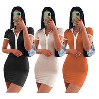 Casual Dresses Damen SN568036 Europäische und Stand-Up-Kragen-Knopf eng anliegende Kleid schlanke weibliche trendige Kleidung
