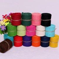 2M width 6cm Colorful Natural Jute Burlap Ribbon Jute Fabric Roll Hessian Ribbon Trims Tape Rustic DIY Wedding Par