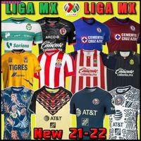 21 22 Club America Cruz Azul 축구 유니폼 2021 2022 과달라하라 치바스 115 티후아나 Unam Tigres 멀리 멀리 멀리 멀리 멀리 제 3 리가 MX 축구 셔츠 산토스 라구나 멕시코 태국어