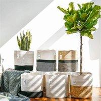 Zerolife Folding Wäschekorb 20x20 cm Baumwolle gewebt Lagerung Stroh Sonnenzahnschrank für Pflanze Blume Pot Balkon Körbe