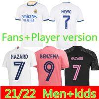 Real Madrid 21 22 Camisa de Futebol de Jersey de Futebol Alaba Hazard Sergio Ramos Benzema Modric Asensio Camiseta Men + Kids Kit 2021 2022 Uniformes Quarto