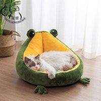 Camas de gato móveis cama animal de estimação sapo interior para gatos casa morno pequeno cão esteira portátil gatinho macio cute bonito espreguiçadeira ninho suprimentos