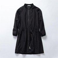 Women's Trench Coats Casual Windbreaker Female Baseball Uniform 2021 Spring Autumn Long Black Overcoats M346