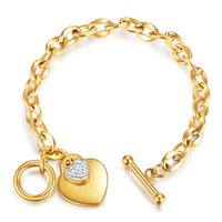 Mode Infinity Armbänder Titanium Stahl Plattiert Rose Gold Silber Liebe Herz Anhänger Weiß Zirkon Keltische Charms Frauen Armreifen Schmuck
