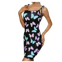 Elegant Summer Arrival Women Sleeveless Mini Dress Butterfly Print Above Knee Sundress Casual Beach Women's Swimwear