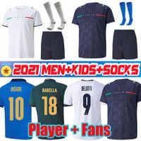 2021 2022 مراوح المشجعين نسخة Barella Sensi Insigne Soccer Jersey 20 21 22 Chiellini إيطاليا Belotti Italia Maglie da Clipio Bernardeschi كرة القدم قمصان الرجال الاطفال
