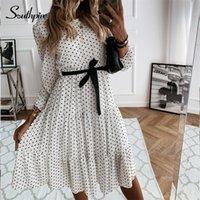Southpire Simples O-pescoço Branco Polinhas Party Dress Mulheres Manga Longa Casual Diário Vestido Boêmio Estilo Chiffon Vestidos Roupas 210320