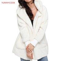 Pulls pour femmes Yummycook 2021 hiver à capuche en peluche à manches en peluche à manches longues à manches longues Femme confortable simple couleur solide vêtements A433