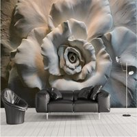 Shuhiko 3D Stereo Relief Roses TV Wall Background Customized Large Mural Environmental Nonwovens Wallpaper Wallpapers