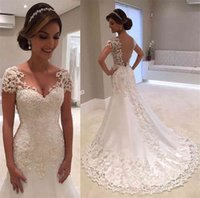 V-neck Appliqued Lace Illusion Back Bridal Dress Formal Gown For Brides Cap Sleeve Mermaid Wedding Dresses Gowns Count Train