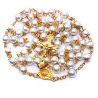 8mm Pérola Dourada Rosário Colar de Jóias Cross Catholic Religiosos Fornecimentos Pingente Colares