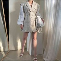 Girls Spring Women Suits Long Sleeves Tops High Waist Plaid A Line Dress Womens Two Piece Sell Separately Oversize 210423