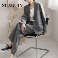 Sungtin Office Lady Women Casual Suit Work Blazer 2 Piece Se...