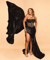 Plus Size Black Evening Dresses Sexy Velvet Lace Beaded High Split Prom Dress Formal Party Second Reception Gowns Robe de mariée