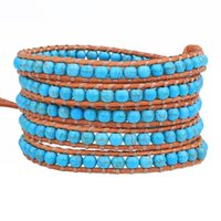 Tennis KELITCH Bracelets Jewelry Ethnic 5 Wrap Leather Cuff Tur-quoise Beads Stranded Bangles Chain