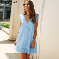Kleider sommer feste spitze es frauen sexy mouwlless v-neck partei mini vintage strand # j3