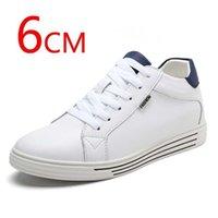 الرجال أحذية رياضية أحذية المصعد ارتفاع زيادة نعل 6CM الرجال زيادة أحذية رياضية بيضاء أطول رجل 201217