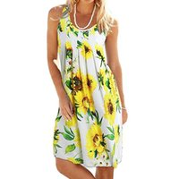 2021 New Style Dress Women Summer Printing Sleeveless Evening Party Dress O-Neck Loose Beach Vest Mini Dresss womens