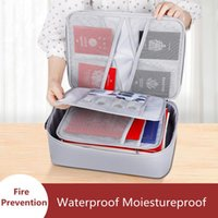 Storage Bags Large Capacity Fireproof Documents Waterproof Electronic Gadgets Bank Card Pouch Home Office Business Zip Handbags