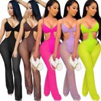Fluorescence Vert Sheer Mesh Beachwear Romper Pour Femmes Taille Coupé Jumpsuit sans manches Jumpsole Sexy Horsd Camisole Outfits