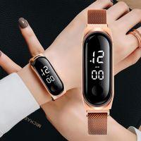 Wristwatches Fashion Women's Watch Rose Gold Stainless Steel Dress LED Quartz Bracelet Women Female Clock Drop Ship