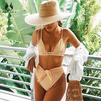 2021 Plavky Sexy High хвост набор ремень бикини желтый полоса насыст для женщин купание моды женский пляж тащит плавание
