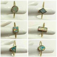 Wedding Rings 2021 Man-made Opal Rectangular Oval Many Minimalist Fashion Women Engagement Never Fade Charm Jewelry Wholesale 5PCS