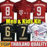 바이에른 축구 유니폼 22 22 Lewandowski Sane Munich Hernandez Goretzka Gnabry 축구 셔츠 세트 2021 2022 Hurnrace 넷째 4 번째 남자 키트 유니폼
