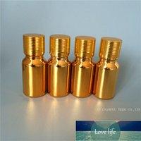 10 adet / grup 10 ml Altın Kaplama UV Mini Cam Şişe Örnek Şişeler Küçük Esansiyel Yağ Şişesi ile Altın Vida Kapağı