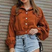 Long Sleeve Women Short Jacket Button Pocket Crop Coat Puff OutWear Pockets Top Women's Jackets