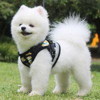 تعكس ضوء صدرية تسخير المقاود مجموعة الكرتون الكلب طباعة المشي الكلاب الياقات الحيوانات الأليفة اللوازم