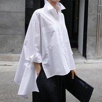 Brand Clothing Autumn Winter Lapel Long Sleeve White Back Loose Big Size Irregular Shirt Women Blouse Fashion Tide Women's Blouses & Shirts