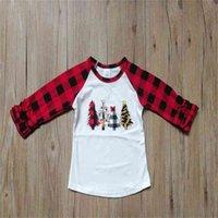 Red &black buffalo plaid classic christmas blouses kids girls long sleeve T-Shirt hoodie snowman Xmas tree print party costumes pajama tracksuit casual tops G024PLB