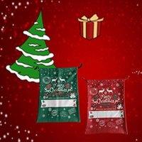 Décoration de Noël NOUVELLATEST Toile SUBLIMATION SANTA SAC Dessin animé Elk Flocon de neige Décoration de Noël Pomme Candy Cadeau Sac avec cordon