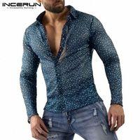 Ancerun Мужчины Мода Сетки Рубашки повседневные Длинные Рукав Отворотный Камисса Человек Сексуальная прозрачная Партия Блуза Ночной клуб Bleewear Blusas 5XL O8DZ #