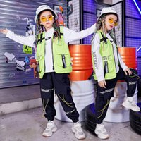 Kid Cool Hip Hop Clothing Sleeveless Jacket Top Vest Streetwear Tactical Cargo Pants For Girls Boys Jazz Dance Costume Clothes Stage Wear