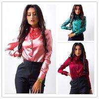 Mujer Sileda Satin Blusa Botón Solapa de manga larga Camisas Ladies Oficina Trabajo Elegante Femenino Top Alta Calidad Blusa