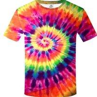 Yaz Kısa Kollu Üstler T-Shirt Tie-Boya Soyut 3 D Baskı Renkli Yuvarlak Yaka Çiftler Erkekler Hip-Hop Moda erkek Tank Top