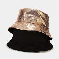 Neue lackierte Leder Herren Bucekt Hut Kreative Faltbare Fischer Frauen Doppelseitige Panama Outdoor Sun Protection Cap