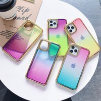 Gradiënt Dual Color Gold Electroplating Plating Cases Hybrid Armor 3 in 1 Clear Shockpost Heavy Duty TPU PC Case voor iPhone 12 Mini 11 PRO XR XS MAX X 8 7 6 Plus SE2