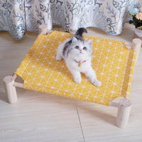 1pc Pet Elevated Bed Detachable Wooden Plaid Cartoon Printing Washable Cat Cot Dog Supplies Beds & Furniture