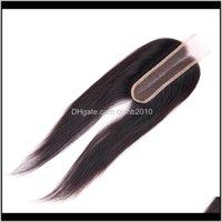 Chiusura per capelli umani peruviana 2x6 Chiusura del pizzo Dritto Parte peruviana peruviana con chiusure per capelli del bambino 8-20inch EqnRw Cyqfj