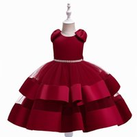 Girl's Dresses Christmas Dress Chirdren Halloween Ball Gown Baby Girl Clothes Pearl Design Birthday Everning Skirt Korean Version