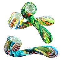 Glühen Sie in den dunklen Gehäusen Mini-Handleitungen 7 Wort-Form Raucher-Rohrfarbe Ultimative Werkzeug Tabak-Bubbler DAB-Rigs