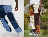 Men's Jeans 2021 Arrived Men Streetwear Denim Pants Casual Black Blue Loose Fit Patchwork Hip Hop