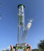 Tubo de agua de 12 pulgadas Bong Hookah GreenBlue Filter Filter Glass Bong Dab Rig Bubbler Perk 18mm Bull Bongs EE. UU.