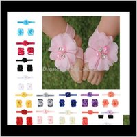 Baby Sandals Cover Barefoot Foot Ties Infant Girl Kids First Walker Headband Set Pography Props 14 Colors Vmlc Hair Accessories Wvdne