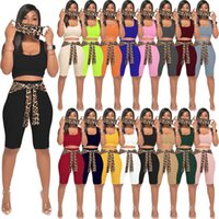 Women plus size Tracksuits 3 piece set summer clothing knitting rib leopard mask t-shirt shorts sportswear pullover crop top leggings outfits vest bodysuits 01290